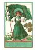 St Patricks Day Poem  Girl with Flag