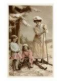 Woman on Skis  Girls on Sled