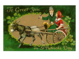 St Patricks Day  Couple in Donkey Cart