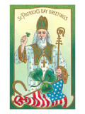St Patrick with Shamrock and Crozier