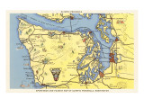 Map of Olympic Peninsula  Washington