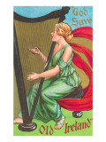 St Patricks Day  Lady Playing Harp
