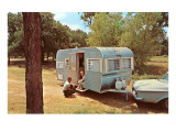 Camping Trailer in Woods
