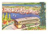 Tour Bus by Seattle  Washington  Illustration