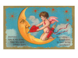 Cupid Feeding Heart to Moon