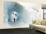 Mountaineer in Ice Cave on Marconi Glacier