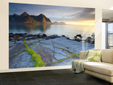 Coastal Landscape Illuminated by Mightnight Sun  Flakstad  Flakstadsoya  Lofoten  Norway