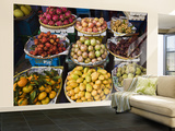 Display of Tropical Fresh Fruit in Market  Including Rambutans  Mangoes  Longans and Dragon Fruit