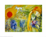 Amoureux De Vence Reproduction d'art par Marc Chagall