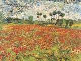 Field of Poppies, Auvers-Sur-Oise, c.1890 Reproduction d'art par Vincent Van Gogh