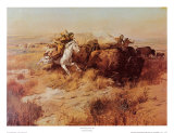 Indiens chassant le buffle Reproduction d'art par Charles Marion Russell