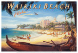 Waikiki Beach Reproduction d'art par Kerne Erickson