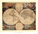 Carte du monde Reproduction d'art par Nicholas Visscher