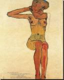 Nu assis Tableau sur toile par Egon Schiele