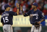 Brewers v St Louis Cardinals - G Four - Oct 13: Jerry Hairston Jr and Nyjer Morgan