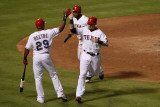 Detroit Tigers v Rangers - Arlington  TX - Oct 15: Josh Hamilton  Elvis Andrus and Adrian Beltre