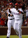 Detroit Tigers v Texas Rangers - Game Six  Arlington  TX - Oct 15: Adrian Beltre and Mike Napoli