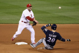 Milwaukee Brewers v Cardinals - G Five  St Louis  MO - Oct 14: Nick Punto and Jonathan Lucroy