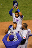 Rangers v Cardinals - Oct 27: Adrian Beltre  Esteban German  Ron Washington and Elvis Andrus