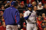 Texas Rangers v St Louis Cardinals  St Louis  MO - Oct 27: Elvis Andrus and Derek Holland