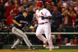 Milwaukee Brewers v Cardinals - G Five  St Louis  MO - Oct 14: Yadier Molina and Zack Greinke