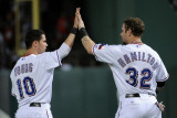 Detroit Tigers v Texas Rangers - Game Six  Arlington  TX - Oct 15: Michael Young and Josh Hamilton