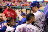 Rangers v Cardinals  St Louis  MO - Oct 27: Josh Hamilton  Elvis Andrus and Ian Kinsler