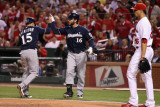 Brewers v St Louis Cardinals - Oct 13: Jerry Hairston Jr  George Kottaras and Kyle Lohse