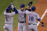 Rangers v Cardinals  St Louis  MO - Oct 27: Elvis Andrus  Josh Hamilton and Mitch Moreland
