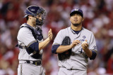Brewers v St Louis Cardinals - Oct 12: Jonathan Lucroy and Yovani Gallardo