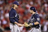 Brewers v St Louis Cardinals - G Four  St Louis  MO - Oct 13: John Axford and Jonathan Lucroy
