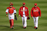 Rangers v Cardinals  St Louis  MO - Oct 27: Yadier Molina  Jaime Garcia and Dave Duncan