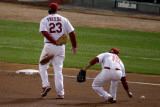 Texas Rangers v St Louis Cardinals  St Louis  MO - Oct 27: David Freese and Rafael Furcal