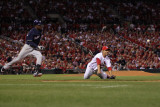 Brewers v St Louis Cardinals - G Four - Oct 13: Fernando Salas and Yuniesky Betancourt