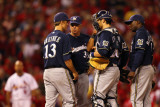 Brewers v Cardinals - G Five  St Louis  MO - Oct 14: Rick Kranitz  Zack Greinke and Albert Pujols