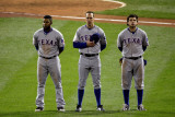 Game 7 - Rangers v Cardinals  St Louis  MO - October 28: Elvis Andrus  David Murphy and Ian Kinsler