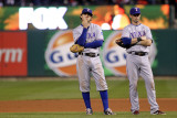 Game 7 - Rangers v Cardinals  St Louis  MO - October 28: Ian Kinsler and Michael Young