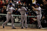 Rangers v Cardinals  St Louis  MO - Oct 28: Josh Hamilton  Elvis Andrus and Yorvit Torrealba