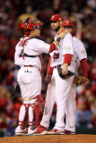 Game 7 - Rangers v Cardinals  St Louis  MO - October 28: Chris Carpenter and Yadier Molina