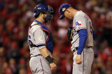Game 7 - Rangers v Cardinals  St Louis  MO - October 28: Mike Napoli and Matt Harrison