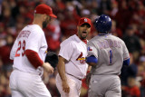 Rangers v Cardinals  St Louis  MO - Oct 28: Albert Pujols  Elvis Andrus and Chris Carpenter