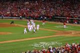 Game 7 - Rangers v Cardinals  St Louis  MO - October 28: Jason Motte and Yadier Molina