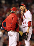 Game 7 - Rangers v Cardinals  St Louis  MO - October 28: Chris Carpenter and Dave Duncan