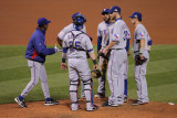 Game 7 - Rangers v Cardinals  St Louis  MO - October 28: Scott Feldman and Ron Washington