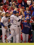 Rangers v Cardinals - Oct 28: Josh Hamilton  Elvis Andrus  Yorvit Torrealba and Ron Washington