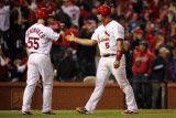 Game 7 - Rangers v Cardinals  St Louis  MO - October 28: Albert Pujols and Skip Schumaker