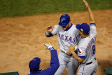 Rangers v Cardinals  St Louis  MO - Oct 28: Josh Hamilton  Ron Washington and Yorvit Torrealba