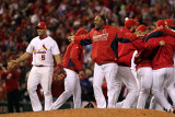 Game 7 - Rangers v Cardinals  St Louis  MO - October 28: Albert Pujols and Arthur Rhodes
