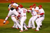 Game 7 - Rangers v Cardinals  St Louis  MO - Oct 28: Yadier Molina  Gerald Laird and David Freese