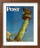 """Working on the Statue of Liberty"" Saturday Evening Post Cover  July 6 1946"